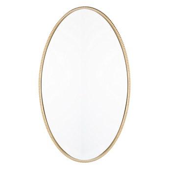 Lustro ścienne wiszące złote 83 x 57 cm owalne dekoracyjne do salonu sypialni łazienki minimalistyczne