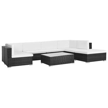 8-częściowy zestaw ogrodowy ze stolikiem czarno-śmietankowy - Bero 8A