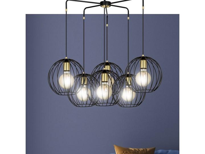 ALBIO 6 BLACK 144/6 wisząca lampa sufitowa LOFT druciaki regulowana metalowa złoto czarna Lampa z kloszem Pomieszczenie Przedpokój Styl Industrialny