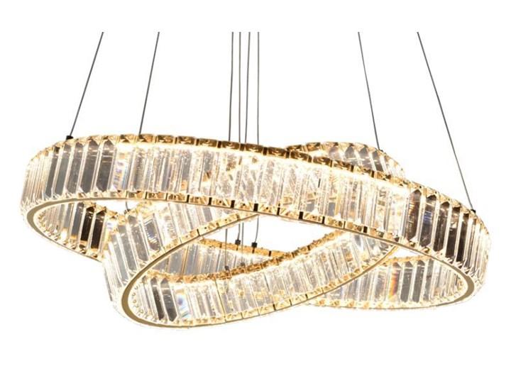 MCODO ::  Kryształowy złoty żyrandol led Prisma 60W z barwą ciepłą 3000K z podwójnymi ringami 60 i 40cm Metal Lampa z kryształkami Chrom Styl Klasyczny