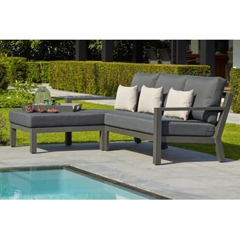 Nieduży komplet mebli ogrodowych aluminiowych z szezlongiem TIMBER Lounge | Dekkor