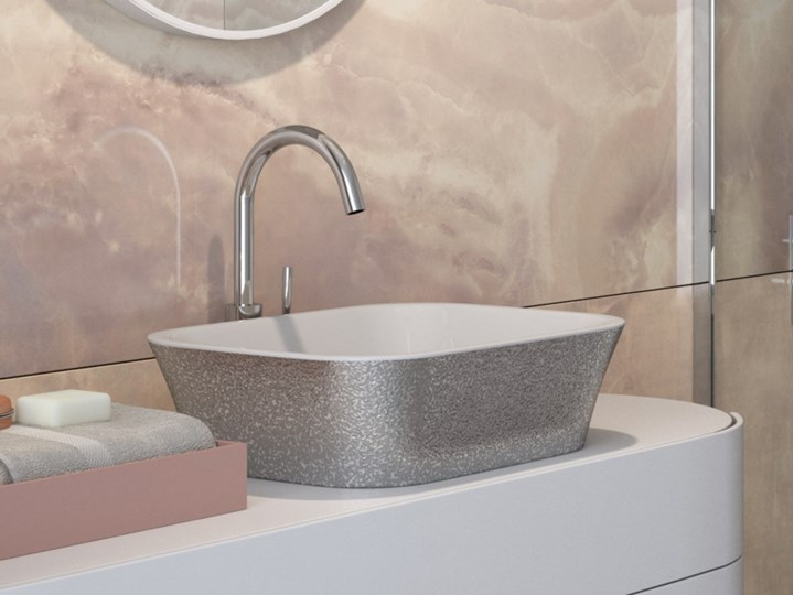 Umywalka nablatowa Assos Glam, 50x40 cm, prostokątna, biała/srebrna