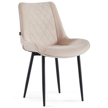 Krzesło tapicerowane beżowe ▪️ BELINI (DC-6020) ▪️ welurowe