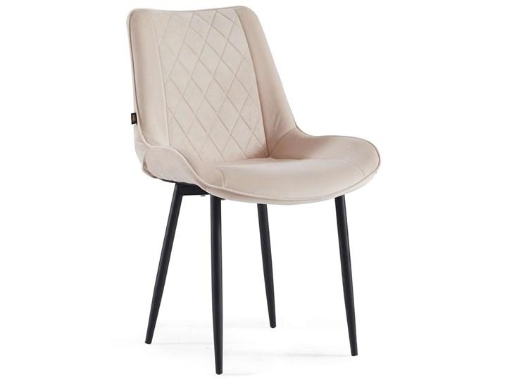 NOWOCZESNE KRZESŁO TAPICEROWANE ▪️ BELINI (DC-6020) ▪️ WELUR BEŻ Kategoria Krzesła kuchenne Metal Tkanina Tworzywo sztuczne Styl Nowoczesny
