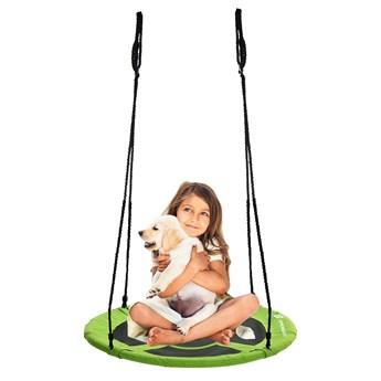 Bocianie gniazdo huśtawka ogrodowa dla dzieci o średnicy 90 cm zielone