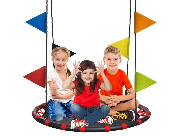 Huśtawka ogrodowa 110cm bocianie gniazdo z kolorowymi flagami czerwono-czarne Metal Tworzywo sztuczne Kategoria Huśtawki dla dzieci