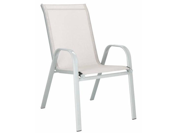 Krzesło ogrodowe stalowe na taras, balkon kremowe Tworzywo sztuczne Krzesło z podłokietnikami Metal Kolor Beżowy Textilene Kategoria Krzesła ogrodowe