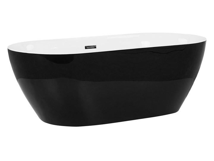 Wanna wolnostojąca czarna akrylowa 180 x 80 cm system przelewowy owalna nowoczesna Wolnostojące Kolor Czarny Kategoria Wanny