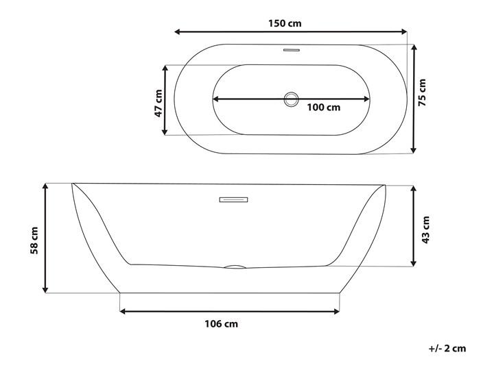 Wanna wolnostojąca czarna akrylowa 150 x 75 cm system przelewowy owalna nowoczesna Wolnostojące Kolor Czarny