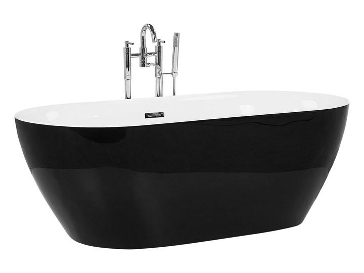 Wanna wolnostojąca czarna akrylowa 150 x 75 cm system przelewowy owalna nowoczesna Wolnostojące Kolor Czarny Kategoria Wanny