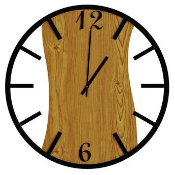 Loftowy zegar ścienny w kolorze dębu - Solaris