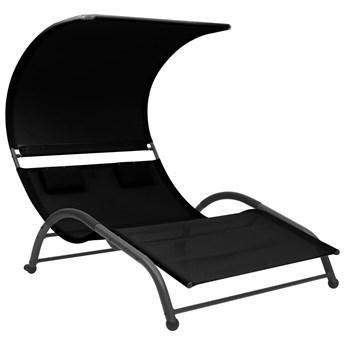vidaXL Podwójny leżak z baldachimem, tkanina textilene, czarny