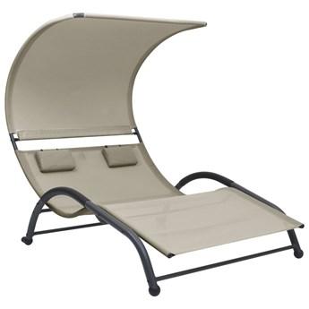 vidaXL Podwójny leżak z baldachimem, tkanina textilene, kremowy