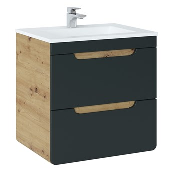 Bettso Szafka pod umywalkę 60 2S z szufladami Aruba Cosmos - czarny mat + dąb craft złoty