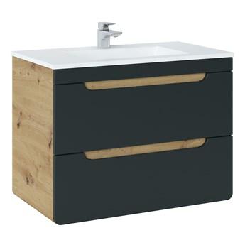 Bettso Szafka pod umywalkę 80 z szufladami Aruba Cosmos - czarny mat + dąb craft złoty