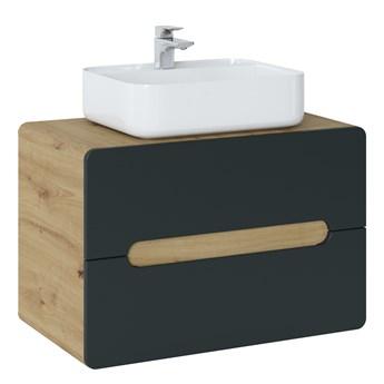 Bettso Szafka umywalkowa 80 z szufladami Aruba Cosmos - czarny mat + dąb craft złoty