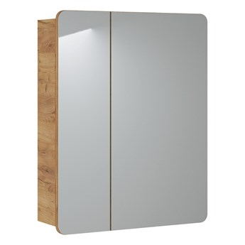 Bettso Nowoczesna szafka z lustrem Aruba 2D do łazienki - dąb craft złoty