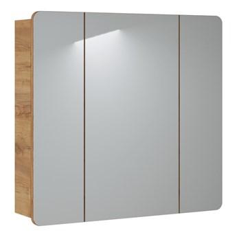 Bettso Szafka z dużym lustrem Aruba 3D do łazienki - dąb craft złoty