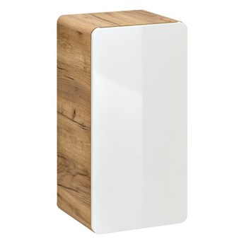 Bettso Szafka niska 1D Aruba White - Biały połysk + dąb craft złoty