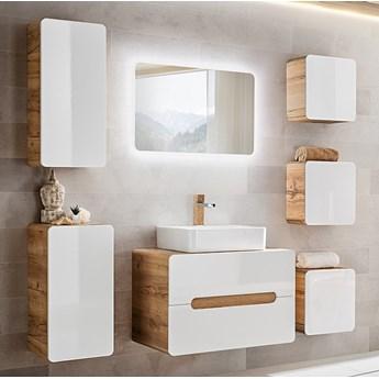 Bettso Zestaw mebli łazienkowych Aruba White 80-2 / Biały połysk + dąb craft złoty
