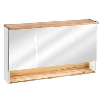 Bettso Duża szafka wisząca z lustrem 120 3D Bahama White / biel alpejska + dąb wotan