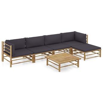 6-cz. zestaw mebli do ogrodu, ciemnoszare poduszki, bambus