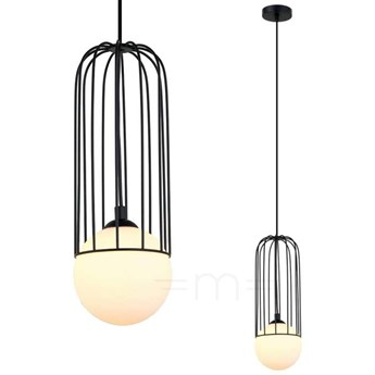 LAMPA wisząca SIMON MDM-3938/1 BK Italux druciana OPRAWA metalowa ZWIS szklana kula ball klatka loft czarna