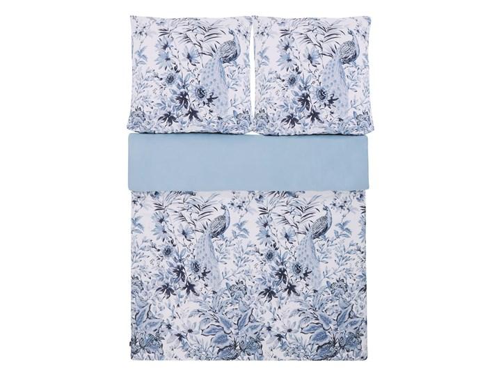 Komplet pościeli poszewki na kołdrę i 2 poduszki biało-niebieski kwiatowy wzór bawełna 155 x 220 cm nowoczesny boho sypialnia