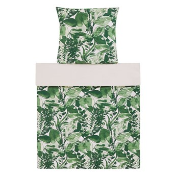 Komplet pościeli poszewki na kołdrę i poduszkę biało-zielony motyw liści bawełna 135 x 200 cm nowoczesny boho sypialnia