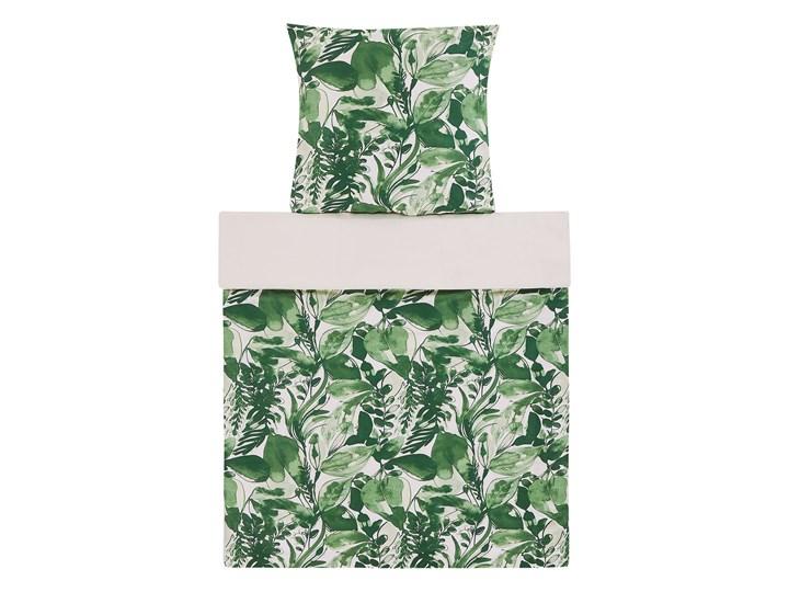 Komplet pościeli poszewki na kołdrę i poduszkę biało-zielony motyw liści bawełna 135 x 200 cm nowoczesny boho sypialnia 135x200 cm Pomieszczenie Pościel do sypialni