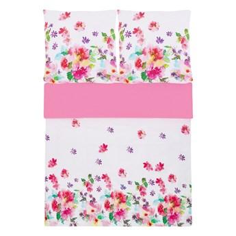 Komplet pościeli poszewki na kołdrę i poduszkębiało-różowy kwiecisty wzór bawełna 155 x 220 cm nowoczesny sypialnia
