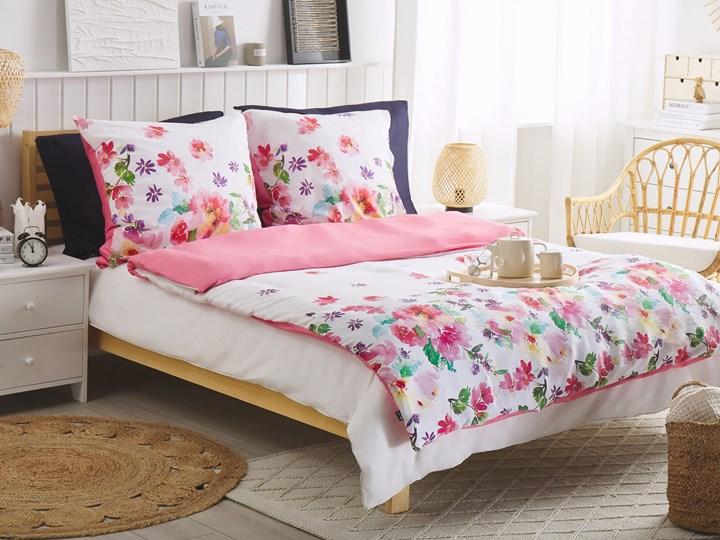 Komplet pościeli poszewki na kołdrę i poduszkębiało-różowy kwiecisty wzór bawełna 135 x 200 cm nowoczesny sypialnia 135x200 cm Wzór Kwiaty
