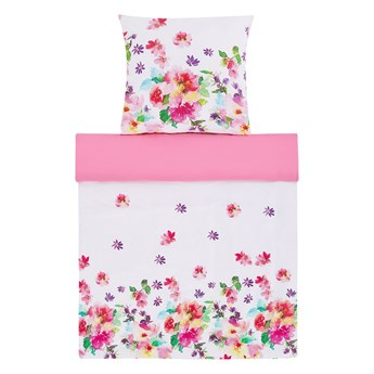 Komplet pościeli poszewki na kołdrę i poduszkębiało-różowy kwiecisty wzór bawełna 135 x 200 cm nowoczesny sypialnia