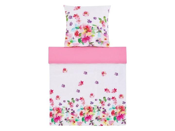 Komplet pościeli poszewki na kołdrę i poduszkębiało-różowy kwiecisty wzór bawełna 135 x 200 cm nowoc ...