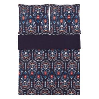 Zestaw pościeli z poszewkami niebieski kwiatowy wzór bawełna 155 x 220 cm do sypialni