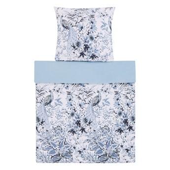Komplet pościeli poszewki na kołdrę i poduszkę biało-niebieski kwiatowy wzór bawełna 135 x 200 cm nowoczesny boho sypialnia