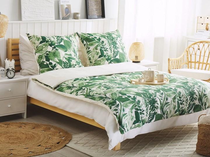 Komplet pościeli poszewki na kołdrę i poduszkę biało-zielony motyw liści bawełna 135 x 200 cm nowoczesny boho sypialnia 135x200 cm Kolor Biały