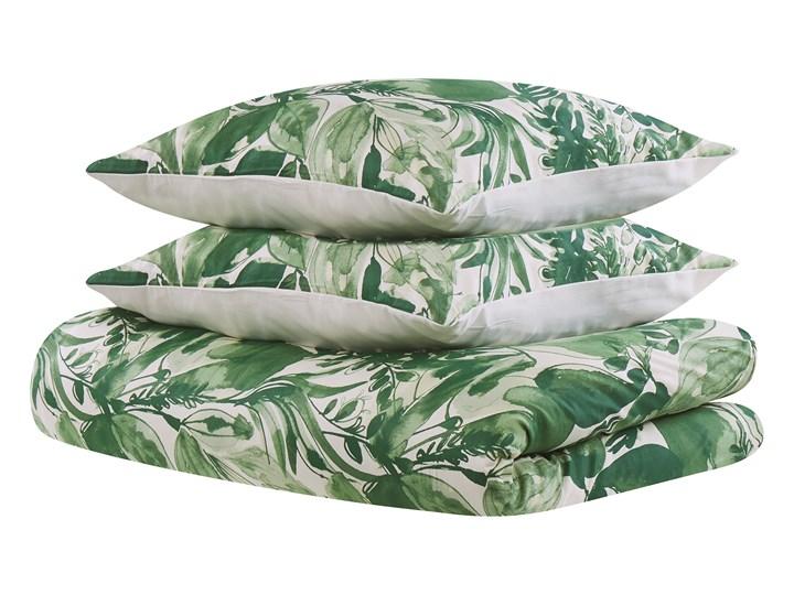 Komplet pościeli poszewki na kołdrę i poduszkę biało-zielony motyw liści bawełna 155 x 220 cm nowoczesny boho sypialnia 155x220 cm Pomieszczenie Pościel do sypialni Kategoria Komplety pościeli