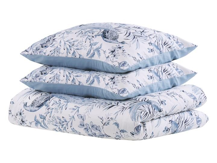 Komplet pościeli poszewki na kołdrę i 2 poduszki biało-niebieski kwiatowy wzór bawełna 155 x 220 cm nowoczesny boho sypialnia Satyna 155x220 cm Kolor Biały
