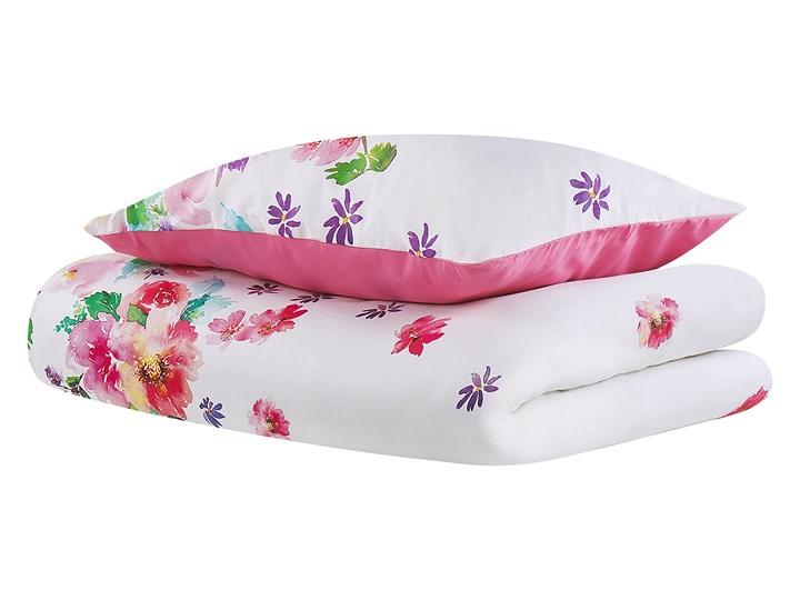 Komplet pościeli poszewki na kołdrę i poduszkębiało-różowy kwiecisty wzór bawełna 135 x 200 cm nowoczesny sypialnia 135x200 cm Kolor Biały Pomieszczenie Pościel do sypialni