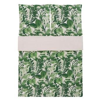 Komplet pościeli poszewki na kołdrę i poduszkę biało-zielony motyw liści bawełna 155 x 220 cm nowoczesny boho sypialnia