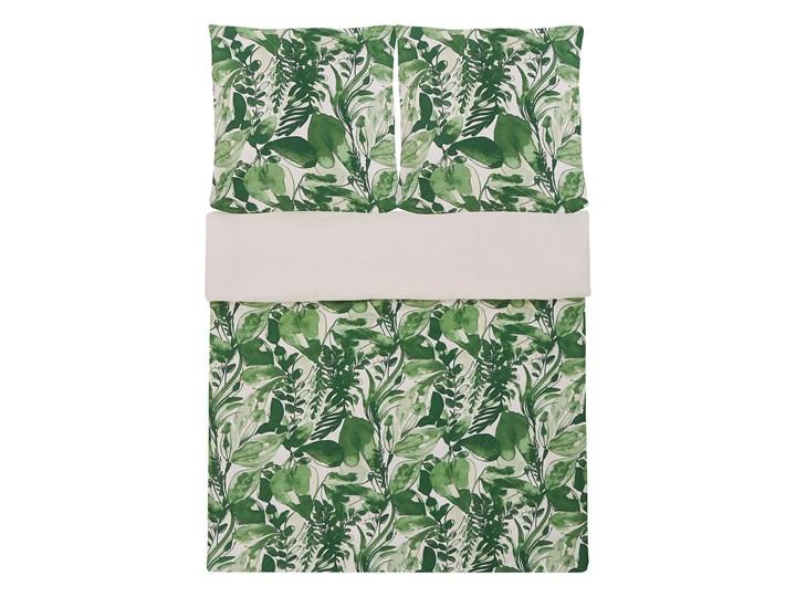 Komplet pościeli poszewki na kołdrę i poduszkę biało-zielony motyw liści bawełna 155 x 220 cm nowoczesny boho sypialnia 155x220 cm Pomieszczenie Pościel do sypialni