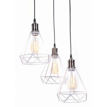 Lampa wisząca industrialna loft biała cobi w3, Lumina Deco