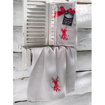Bilge Ręcznik bawełniany haft 3408 V3 NOEL 1x40x60 GREY
