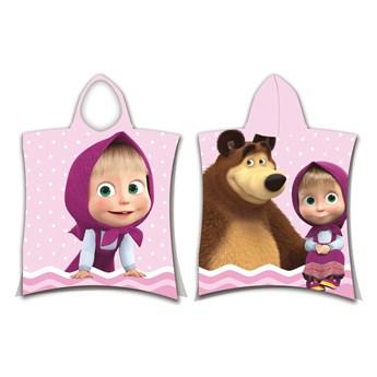 Ręcznik dziecięcy ponczo 50x115 Masza i Niedźwiedź, Aptex