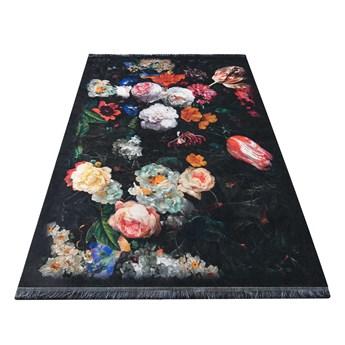 Dywan poliestrowy 160x220 cm czarny kwiaty Horeca 19