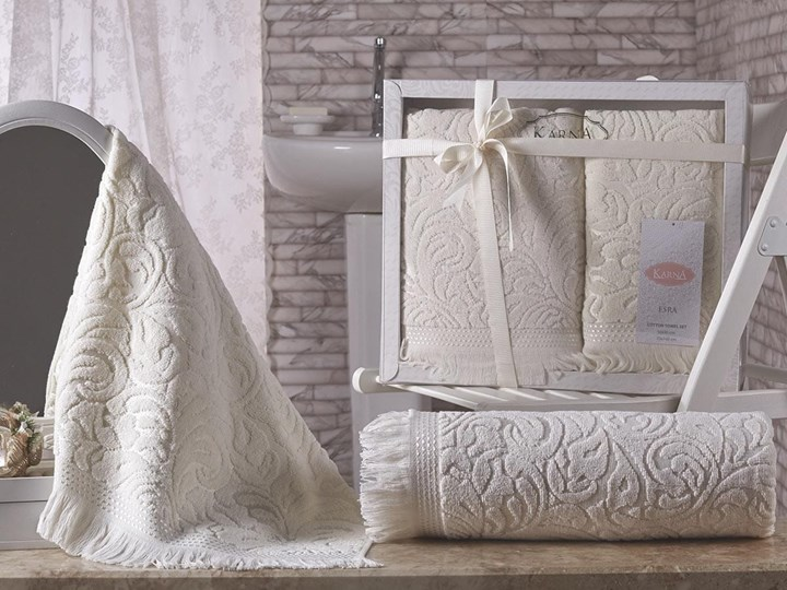 Bilge Ręcznik bawełniany frotte ESRA/1687/cream 50x90+70x140 kpl.