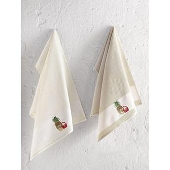 Bilge Ręcznik bawełniany waffle haft PANIER/3495/Beige/ 2x45x65 kpl.