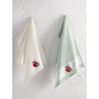 Bilge Ręcznik bawełniany waffle haft PANIER/3495/green/ 2x45x65 kpl.