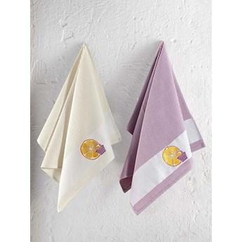 Bilge Ręcznik bawełniany waffle haft PANIER/3495/light lavender/ 2x45x65 kpl.
